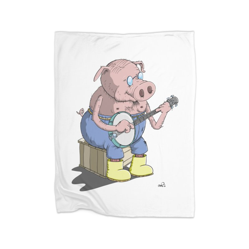 The Pig plays a cool Banjo Home Fleece Blanket Blanket by Illustrated Madness