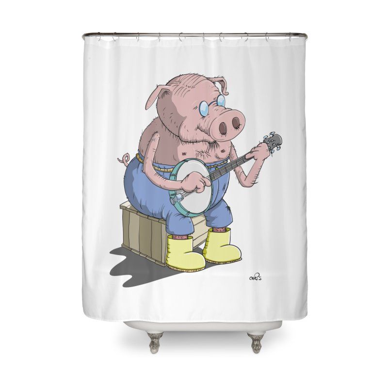 The Pig plays a cool Banjo Home Shower Curtain by Illustrated Madness