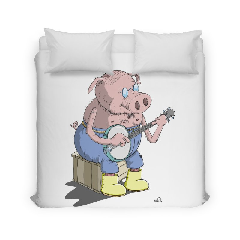 The Pig plays a cool Banjo Home Duvet by Illustrated Madness