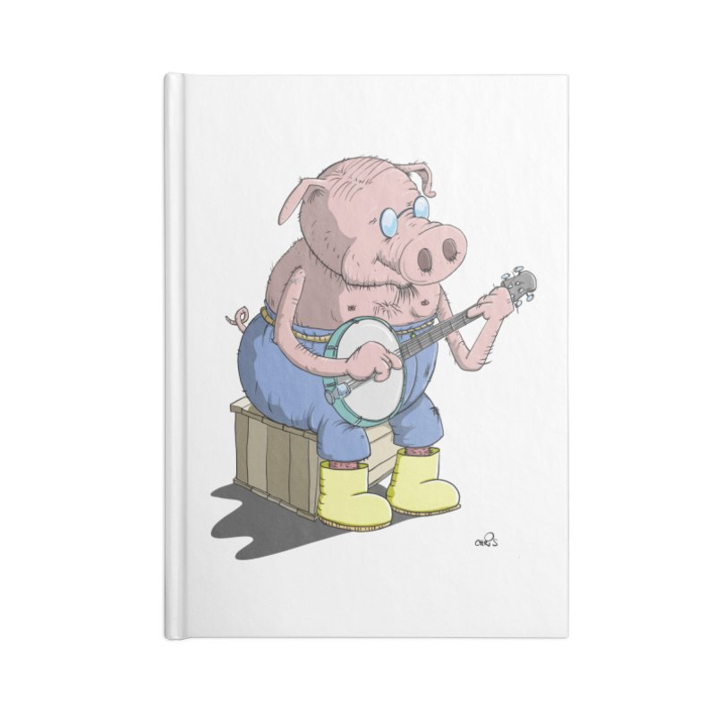 The Pig plays a cool Banjo Accessories Notebook by Illustrated Madness