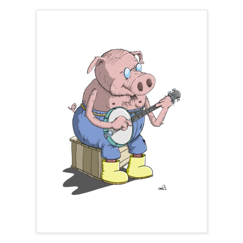 The Pig plays a cool Banjo Home Fine Art Print by Illustrated Madness