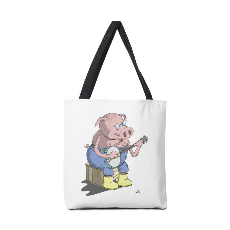 The Pig plays a cool Banjo Accessories Tote Bag Bag by Illustrated Madness