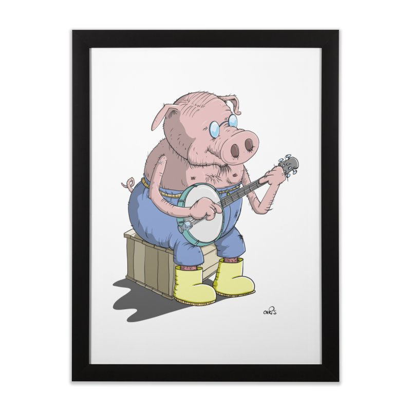 The Pig plays a cool Banjo Home Framed Fine Art Print by Illustrated Madness