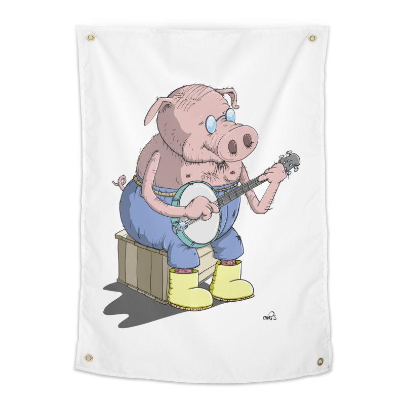 The Pig plays a cool Banjo Home Tapestry by Illustrated Madness