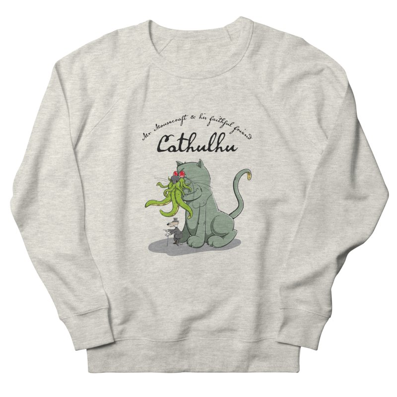 Mr Mousecraft and his faithful Friend Cathulhu Men's French Terry Sweatshirt by Illustrated Madness