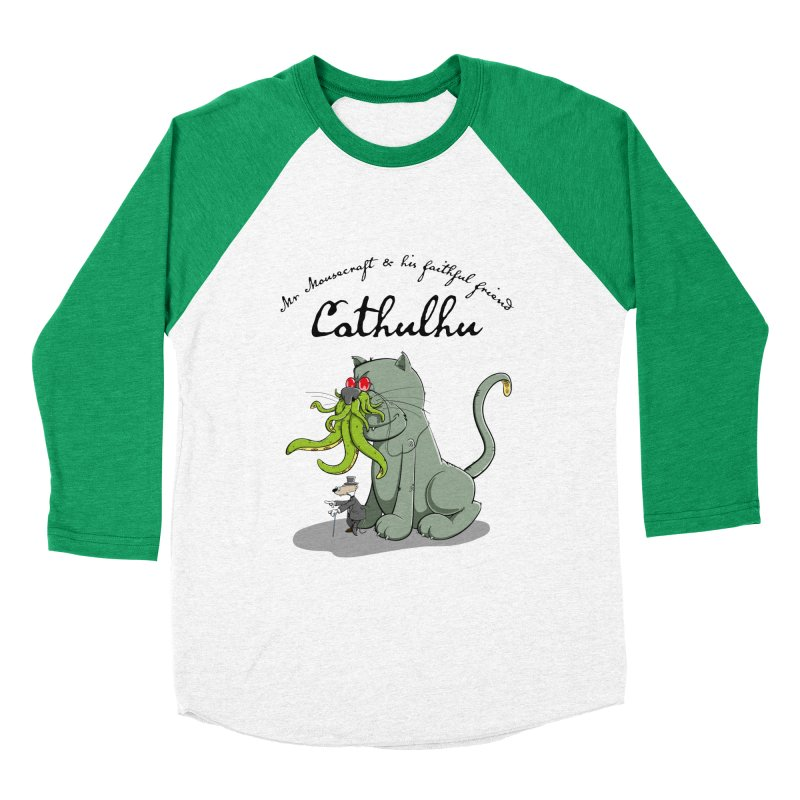 Mr Mousecraft and his faithful Friend Cathulhu Women's Baseball Triblend T-Shirt by Illustrated Madness