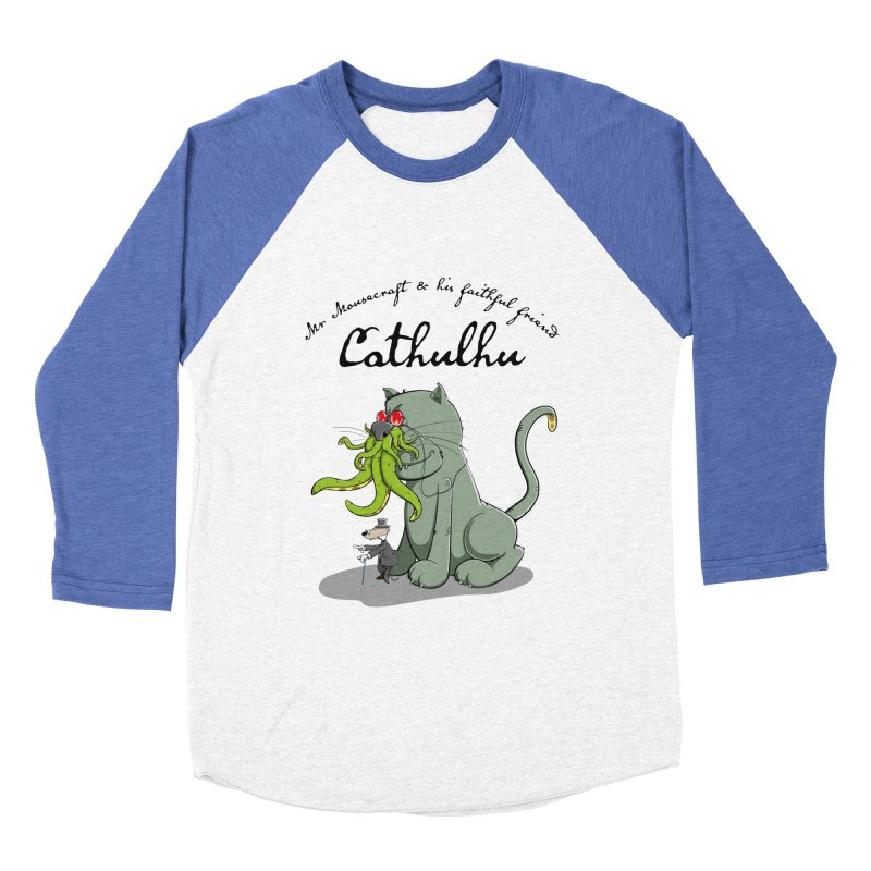 Mr Mousecraft and his faithful Friend Cathulhu Men's Baseball Triblend T-Shirt by Illustrated Madness