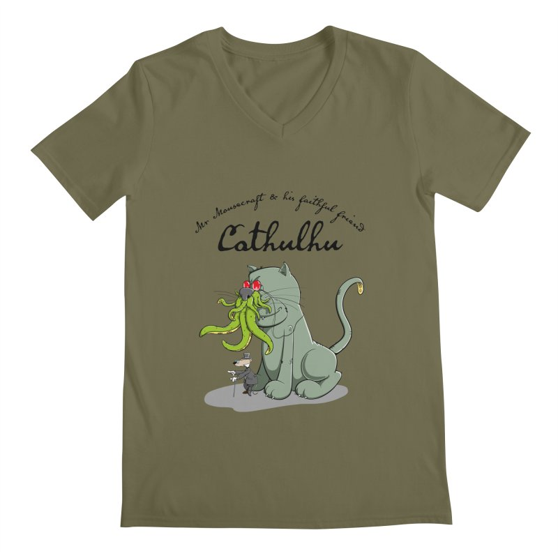 Mr Mousecraft and his faithful Friend Cathulhu Men's V-Neck by Illustrated Madness
