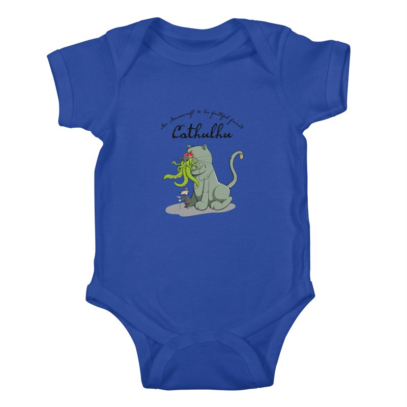 Mr Mousecraft and his faithful Friend Cathulhu Kids Baby Bodysuit by Illustrated Madness