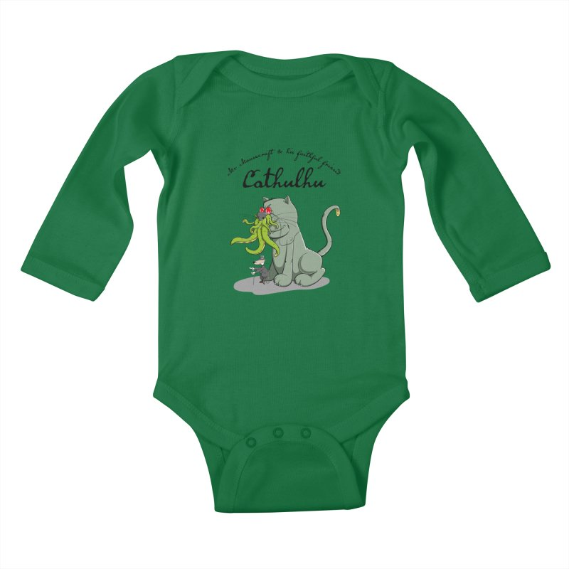 Mr Mousecraft and his faithful Friend Cathulhu Kids Baby Longsleeve Bodysuit by Illustrated Madness