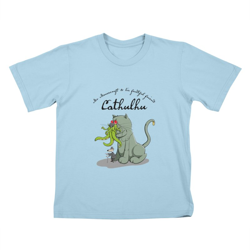 Mr Mousecraft and his faithful Friend Cathulhu Kids T-shirt by Illustrated Madness