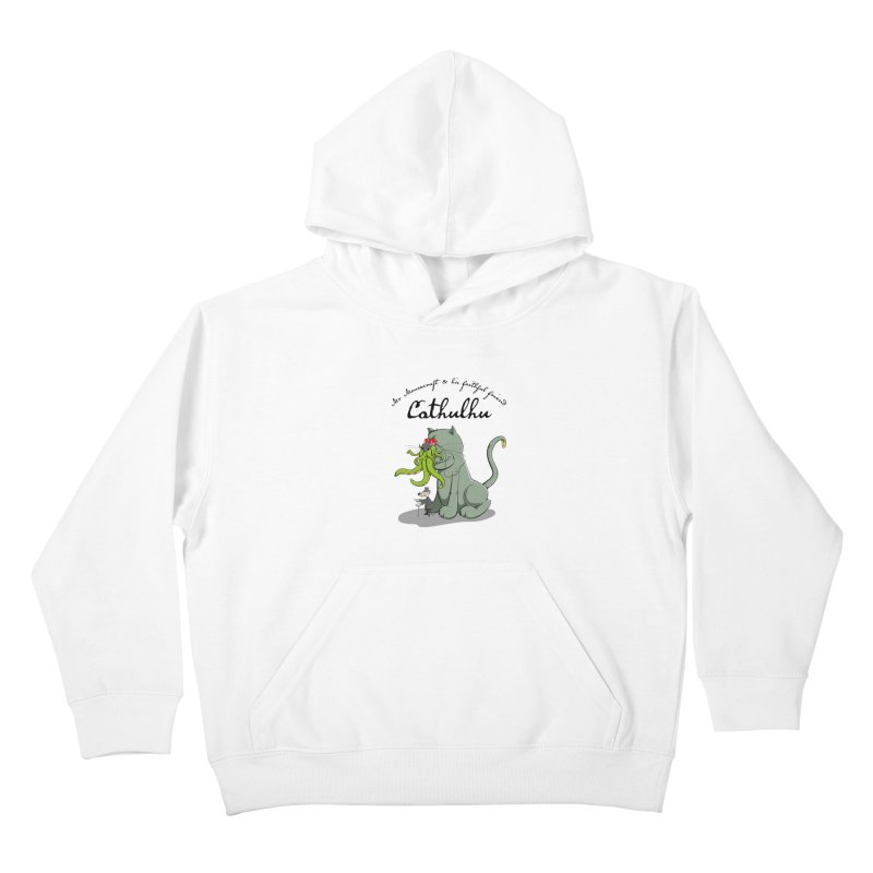 Mr Mousecraft and his faithful Friend Cathulhu Kids Pullover Hoody by Illustrated Madness
