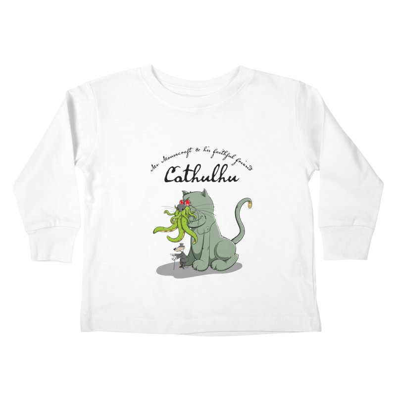 Mr Mousecraft and his faithful Friend Cathulhu Kids Toddler Longsleeve T-Shirt by Illustrated Madness
