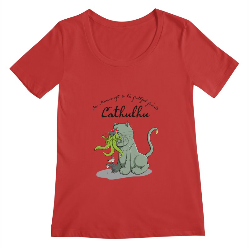Mr Mousecraft and his faithful Friend Cathulhu Women's Scoopneck by Illustrated Madness