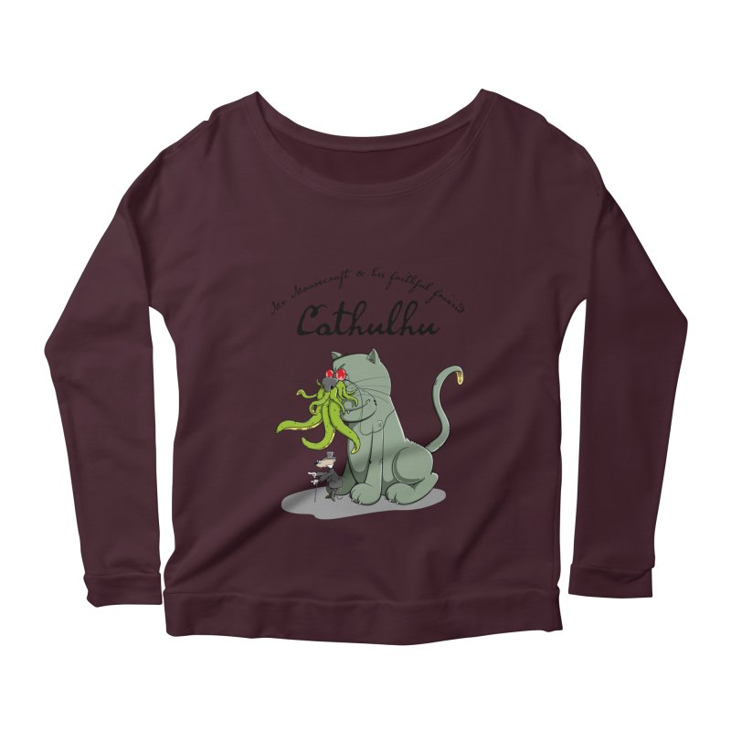 Mr Mousecraft and his faithful Friend Cathulhu Women's Longsleeve Scoopneck  by Illustrated Madness