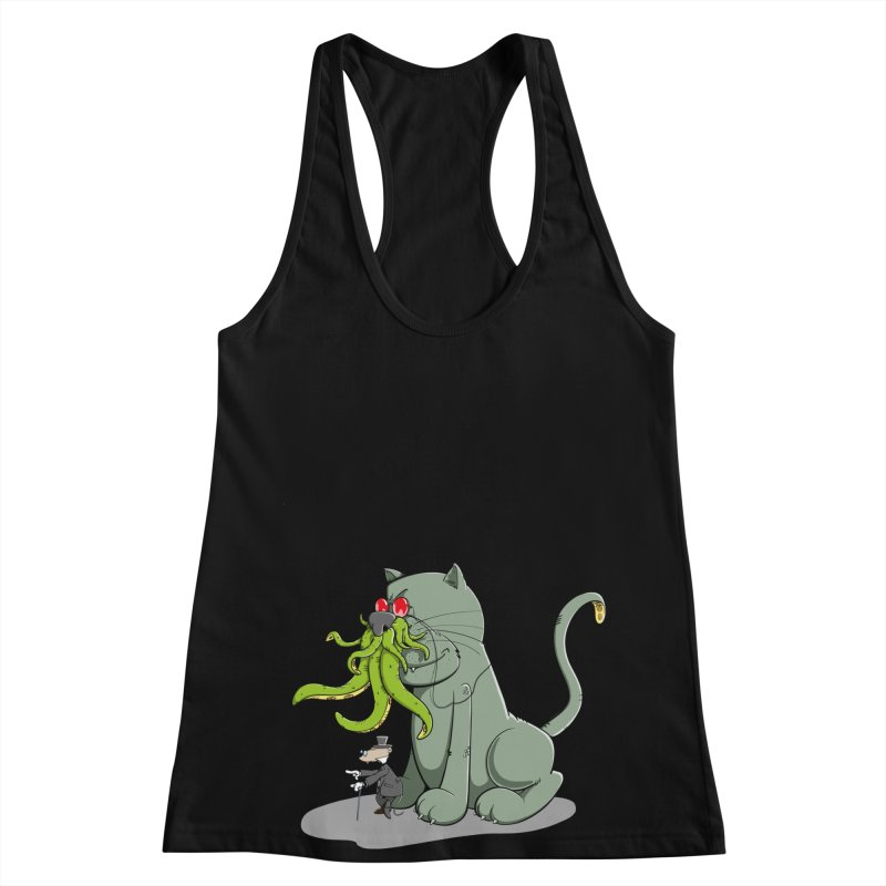 Mr Mousecraft and his faithful Friend Cathulhu Women's Racerback Tank by Illustrated Madness