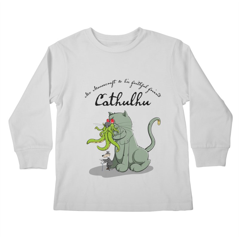 Mr Mousecraft and his faithful Friend Cathulhu Kids Longsleeve T-Shirt by Illustrated Madness