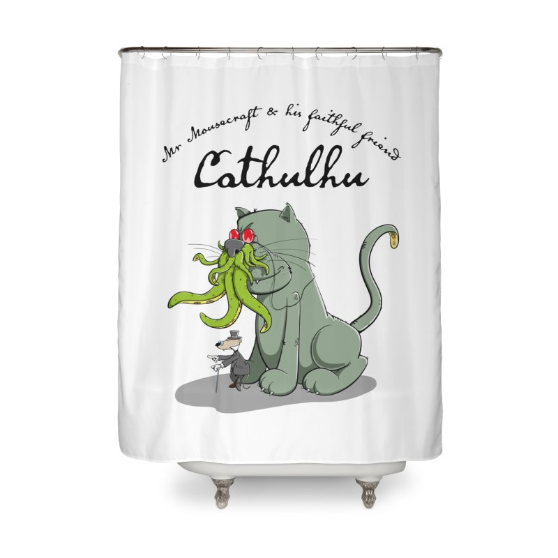 Mr Mousecraft and his faithful Friend Cathulhu Home Shower Curtain by Illustrated Madness