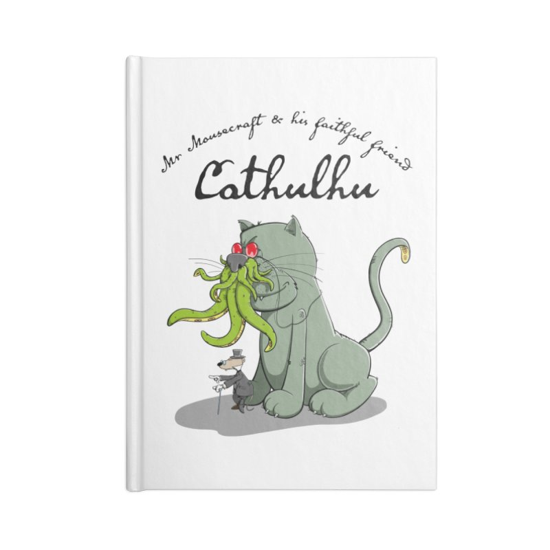 Mr Mousecraft and his faithful Friend Cathulhu Accessories Blank Journal Notebook by Illustrated Madness
