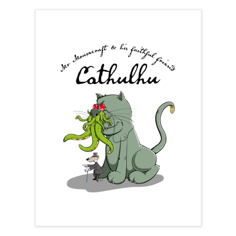 Mr Mousecraft and his faithful Friend Cathulhu Home Fine Art Print by Illustrated Madness