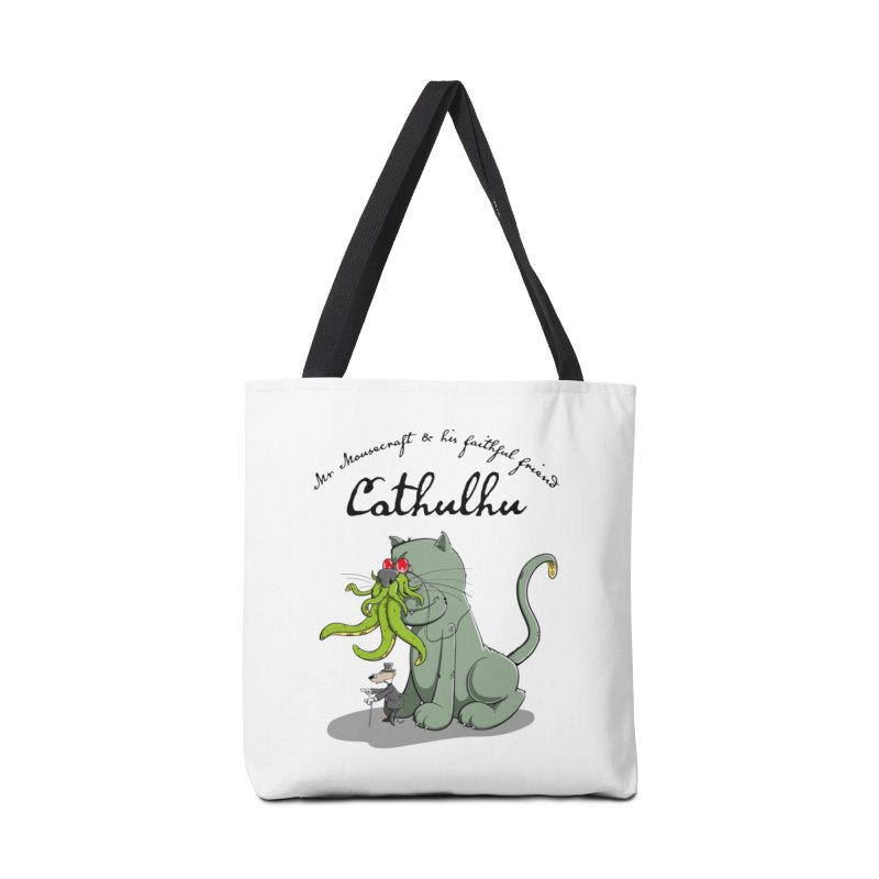 Mr Mousecraft and his faithful Friend Cathulhu Accessories Tote Bag Bag by Illustrated Madness