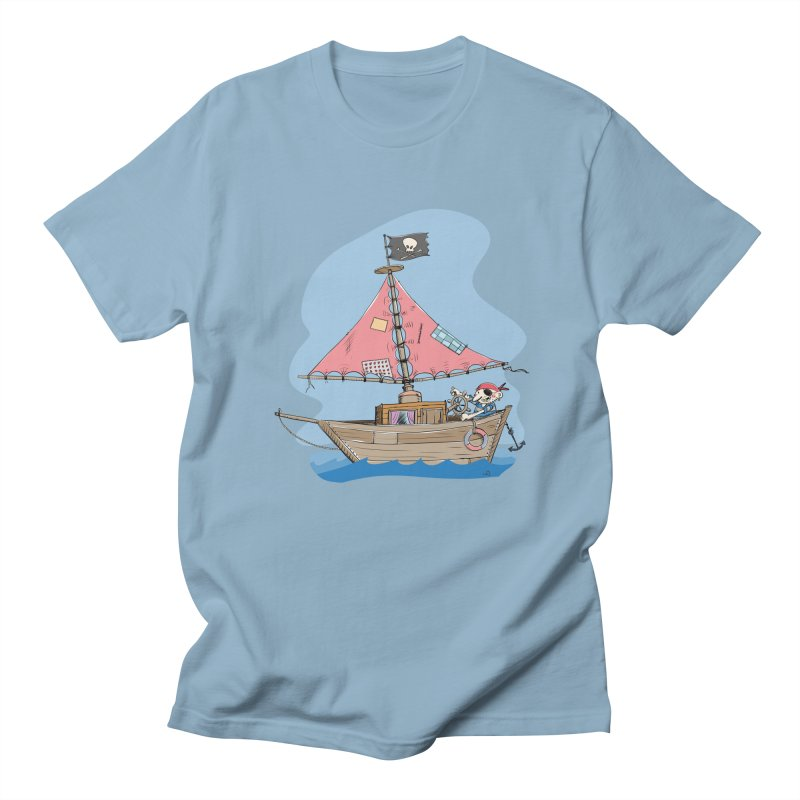 Cute little Pirat sailing on a funny Ship in Men's Regular T-Shirt Light Blue by Illustrated Madness