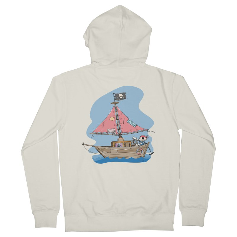 Cute little Pirat sailing on a funny Ship Women's French Terry Zip-Up Hoody by Illustrated Madness