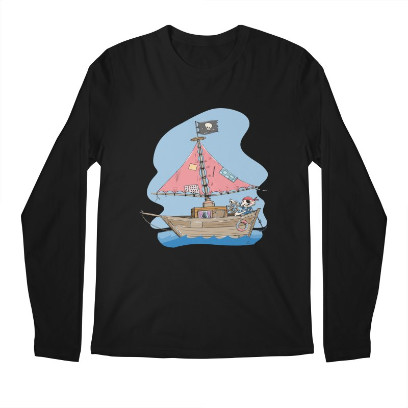 Cute little Pirat sailing on a funny Ship Men's Regular Longsleeve T-Shirt by Illustrated Madness