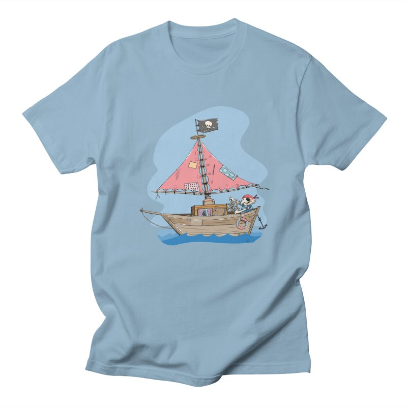 Cute little Pirat sailing on a funny Ship in Men's T-Shirt Light Blue by Illustrated Madness
