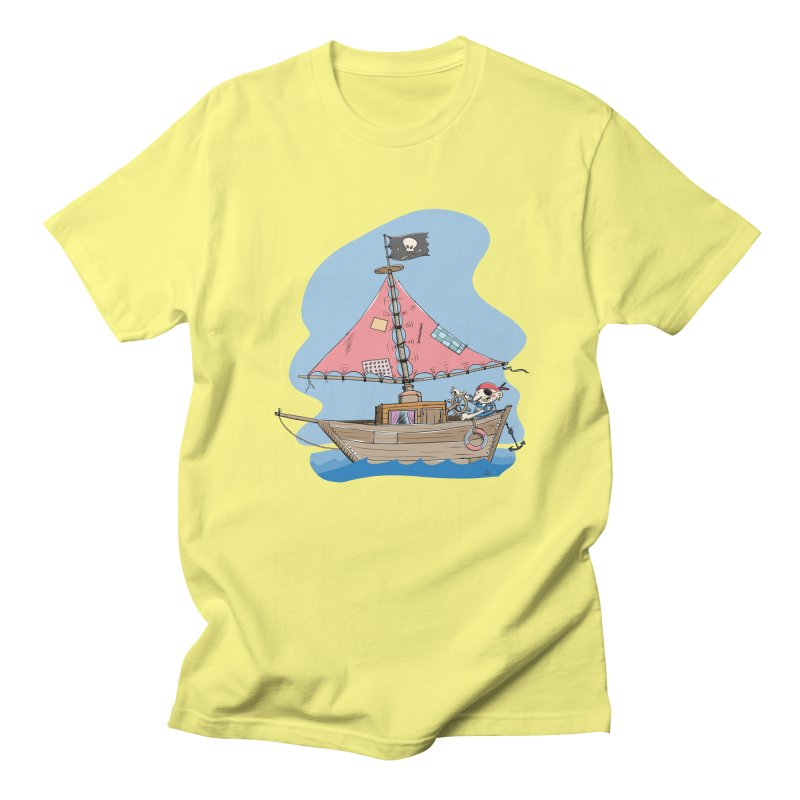 Cute little Pirat sailing on a funny Ship Men's Regular T-Shirt by Illustrated Madness