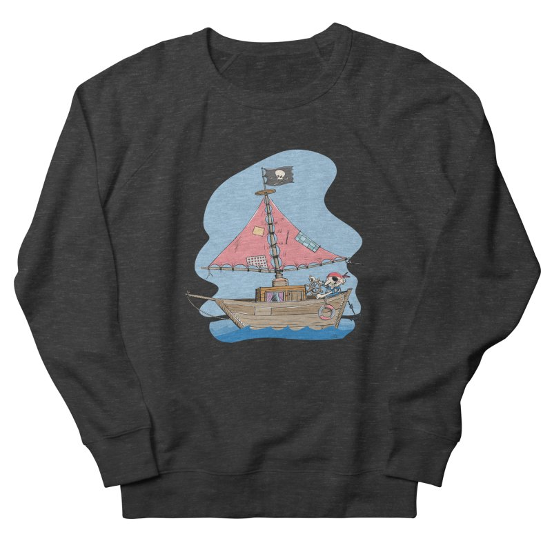 Cute little Pirat sailing on a funny Ship Women's French Terry Sweatshirt by Illustrated Madness