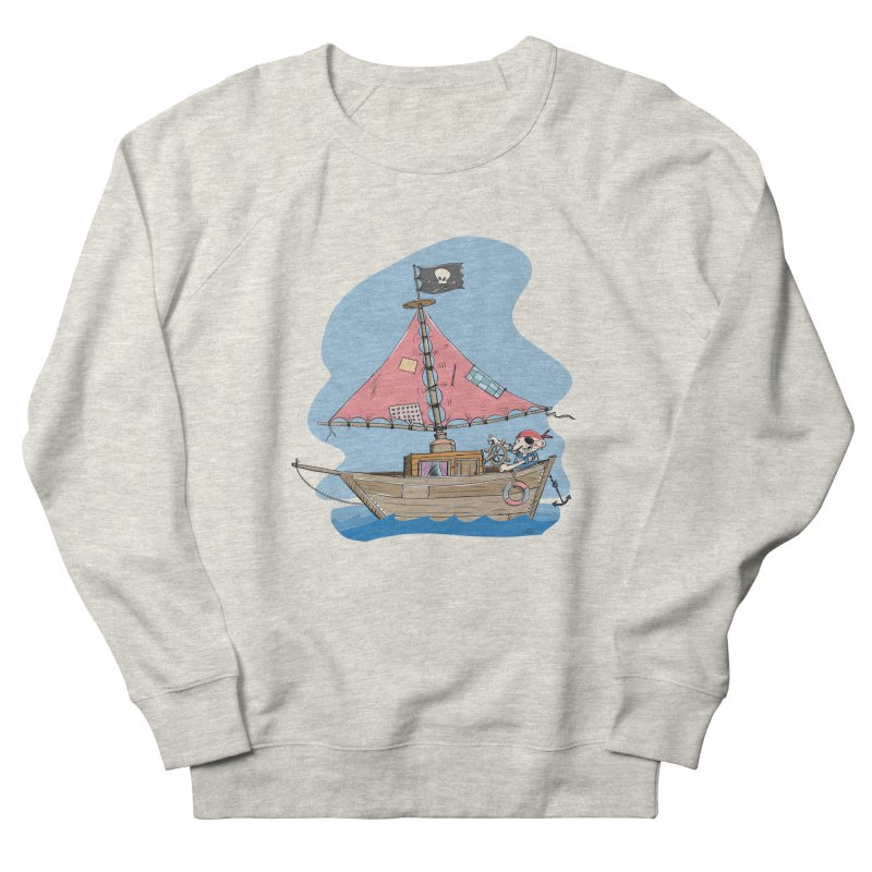 Cute little Pirat sailing on a funny Ship Men's French Terry Sweatshirt by Illustrated Madness