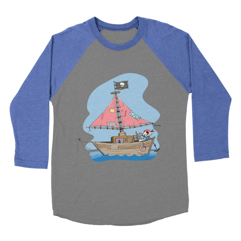 Cute little Pirat sailing on a funny Ship Women's Baseball Triblend Longsleeve T-Shirt by Illustrated Madness