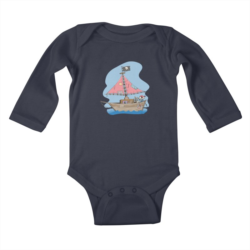 Cute little Pirat sailing on a funny Ship Kids Baby Longsleeve Bodysuit by Illustrated Madness
