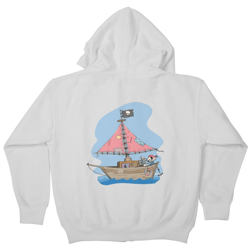 Cute little Pirat sailing on a funny Ship Kids Zip-Up Hoody by Illustrated Madness