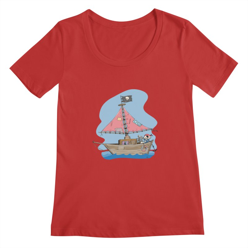 Cute little Pirat sailing on a funny Ship Women's Regular Scoop Neck by Illustrated Madness