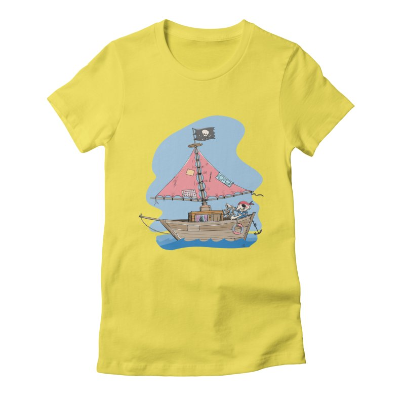 Cute little Pirat sailing on a funny Ship Women's Fitted T-Shirt by Illustrated Madness