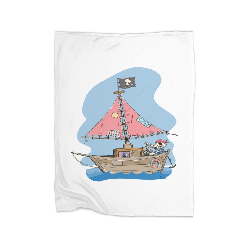 Cute little Pirat sailing on a funny Ship Home Fleece Blanket Blanket by Illustrated Madness