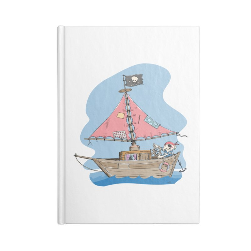 Cute little Pirat sailing on a funny Ship Accessories Blank Journal Notebook by Illustrated Madness