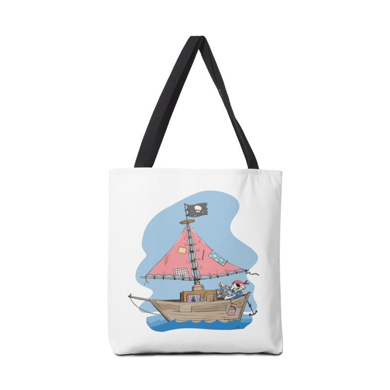 Cute little Pirat sailing on a funny Ship Accessories Tote Bag Bag by Illustrated Madness