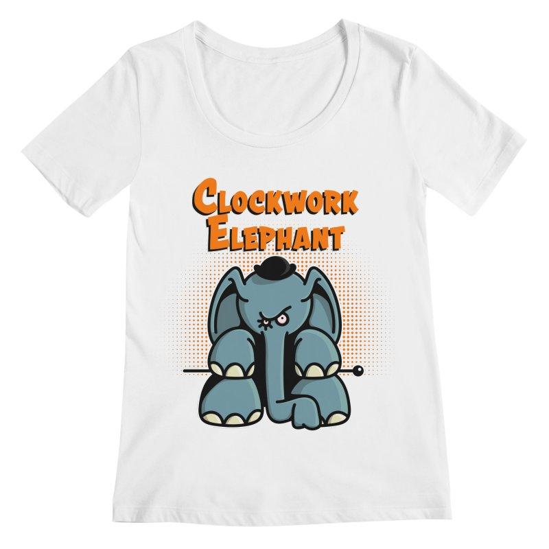 Clockwork Elephant Women's Regular Scoop Neck by Illustrated Madness