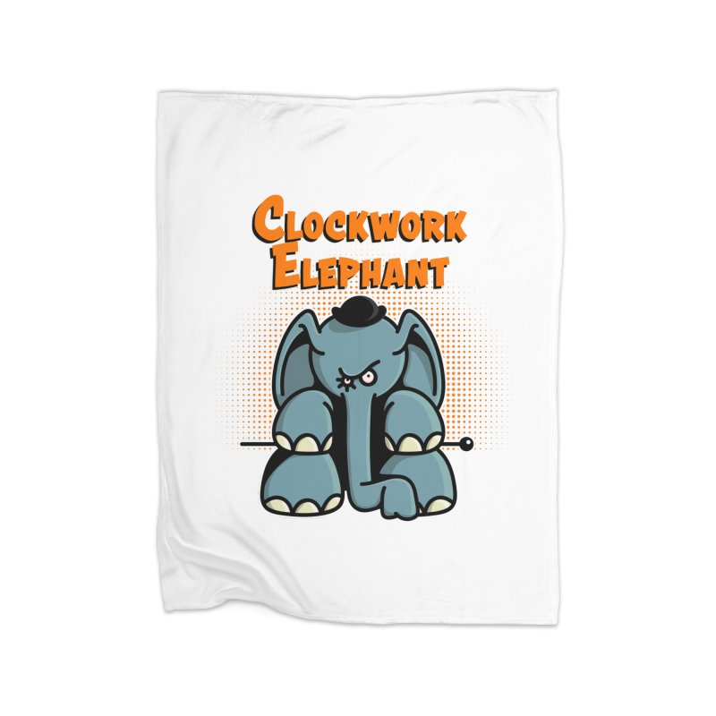 Clockwork Elephant Home Fleece Blanket Blanket by Illustrated Madness