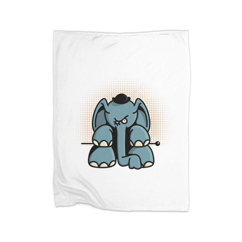 Crazy Elephant with Bowler Hat Home Fleece Blanket Blanket by Illustrated Madness