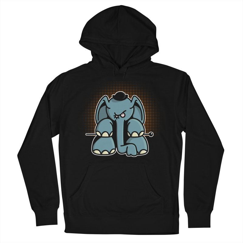 Crazy Elephant with Bowler Hat Men's French Terry Pullover Hoody by Illustrated Madness