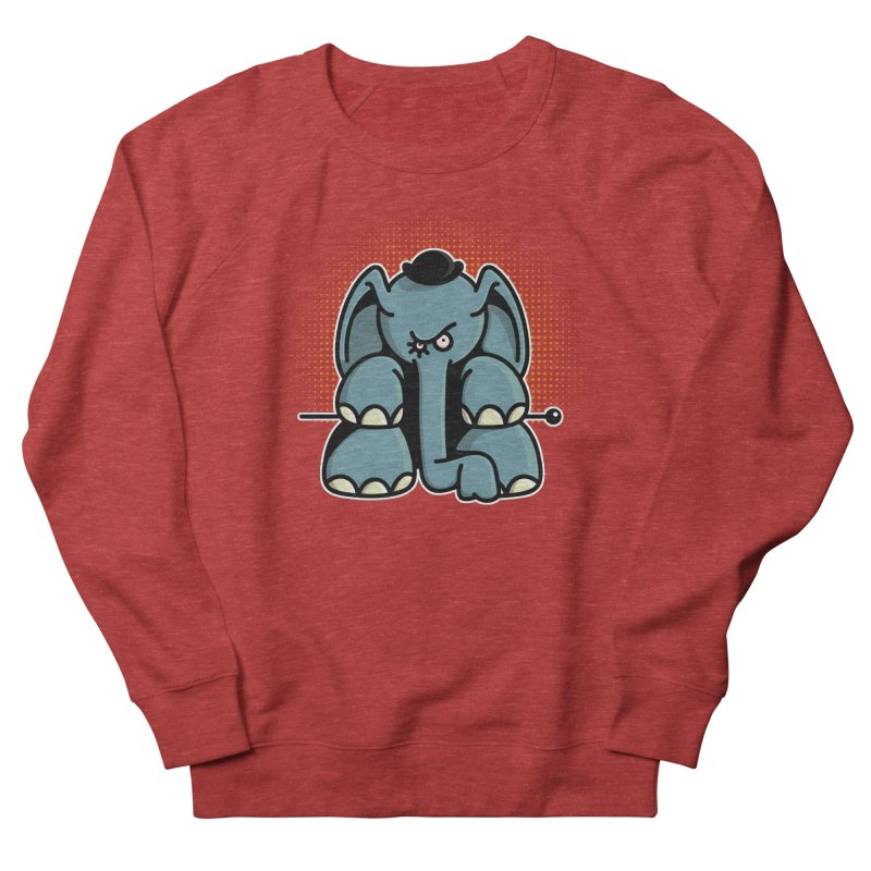 Crazy Elephant with Bowler Hat Men's French Terry Sweatshirt by Illustrated Madness