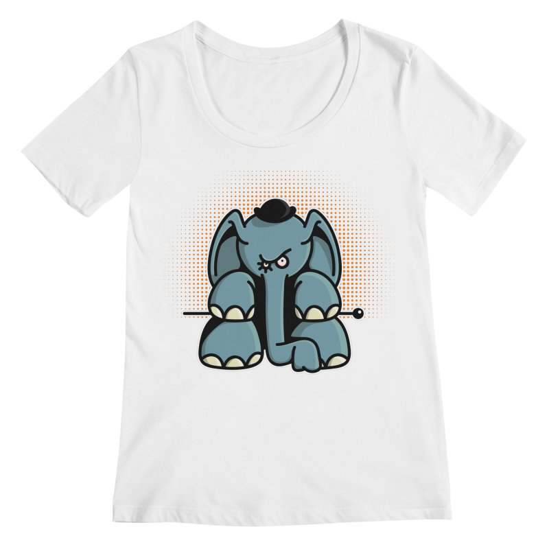 Crazy Elephant with Bowler Hat Women's Regular Scoop Neck by Illustrated Madness