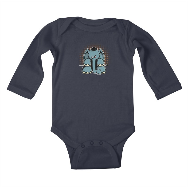 Crazy Elephant with Bowler Hat Kids Baby Longsleeve Bodysuit by Illustrated Madness