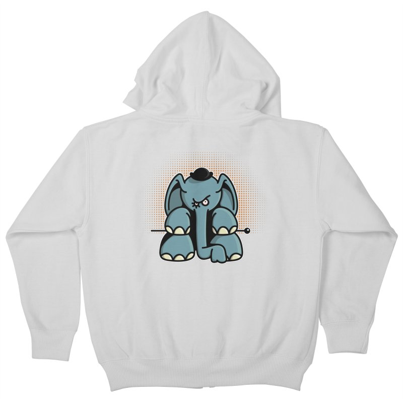 Crazy Elephant with Bowler Hat Kids Zip-Up Hoody by Illustrated Madness