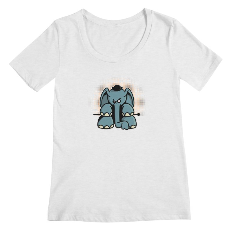 Crazy Elephant with Bowler Hat Women's Scoop Neck by Illustrated Madness