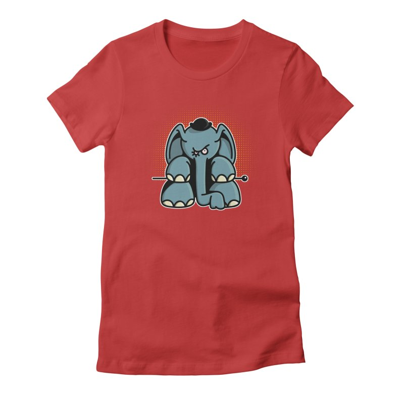 Crazy Elephant with Bowler Hat Women's Fitted T-Shirt by Illustrated Madness